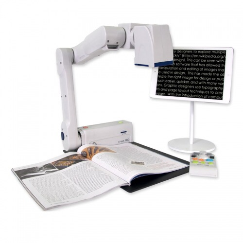 E-Bot Pro system with iPad and projector with book underneath