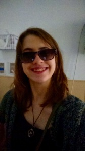 One hour after surgery, smiling with my sunglasses